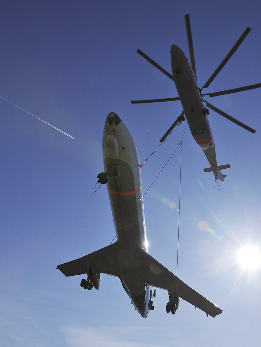 Mil MI 26 Halo helicopter transporting Tupolev TU 134 airliner from Pulkovo Airport to the Russian Emergencies Ministry's training centre based in a St Petersburg suburb, Rybatskoye