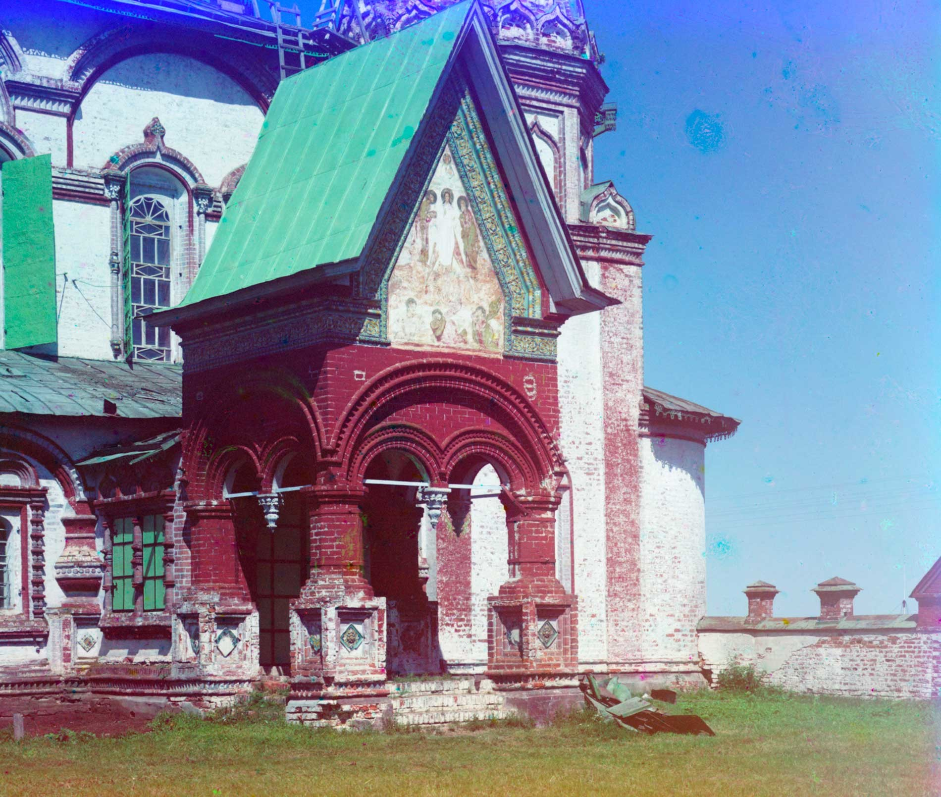 Church of St. John Chrysostome. South facade & porch with ceramic border & fresco of Transfiguration. Summer 1911.
