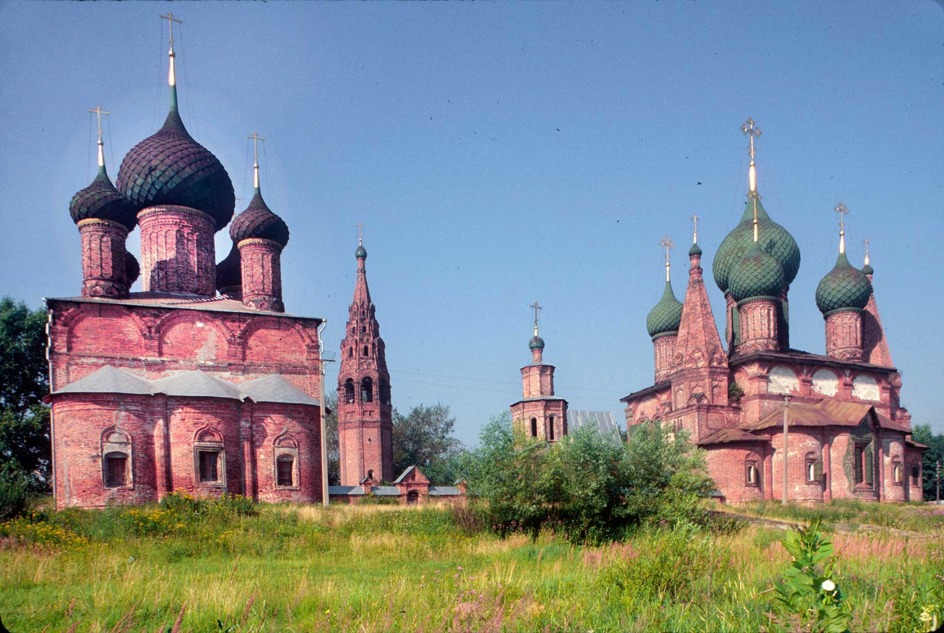 Korovniki ensemble: Church of the Vladimir Icon (left), bell tower, Holy Gate,   Church of St. John Chrysostome. East view from Volga embankment. July 27, 1997.