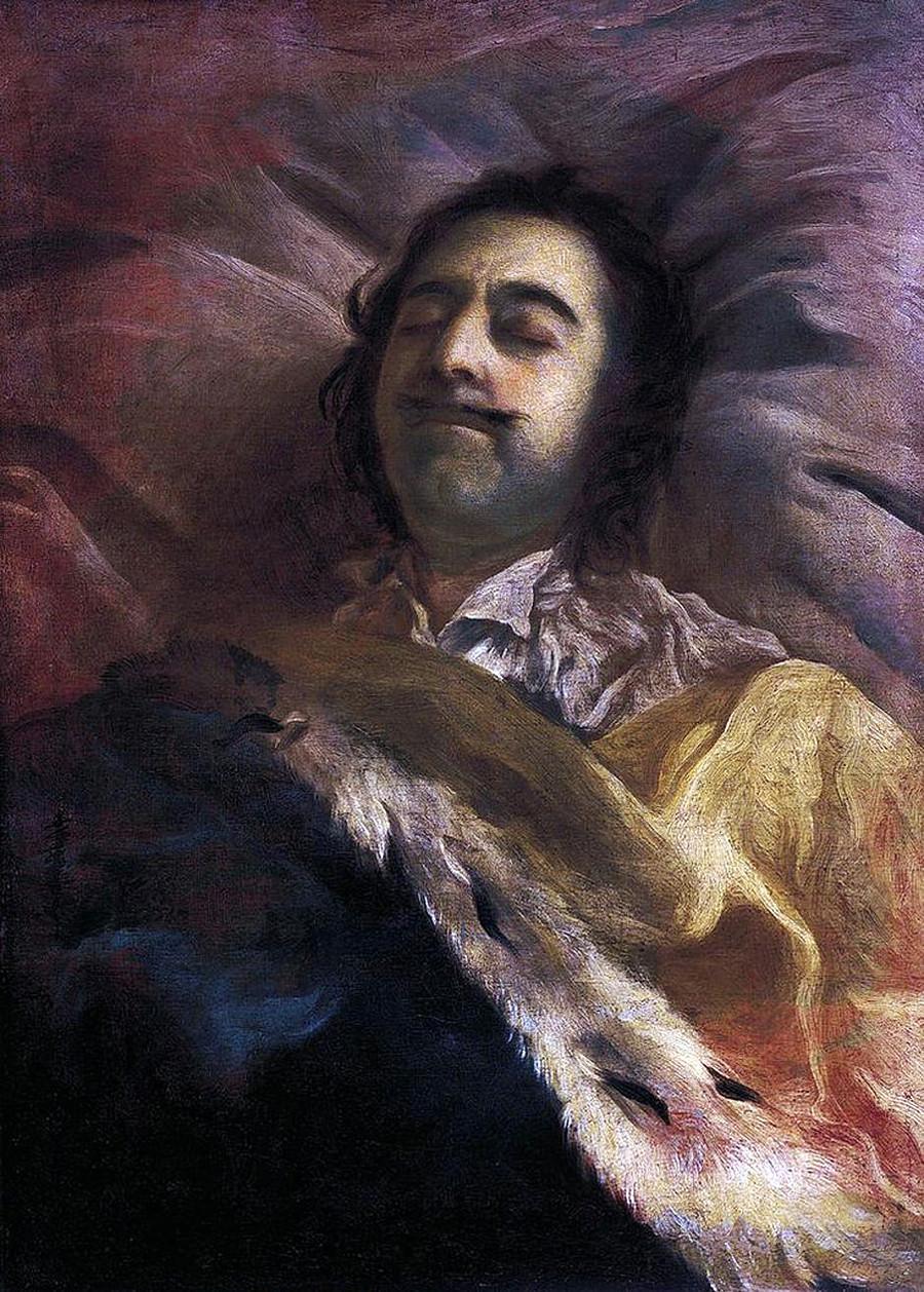 Pietro il Grande sul letto di morte. Dipinto di Ivan Nikitin