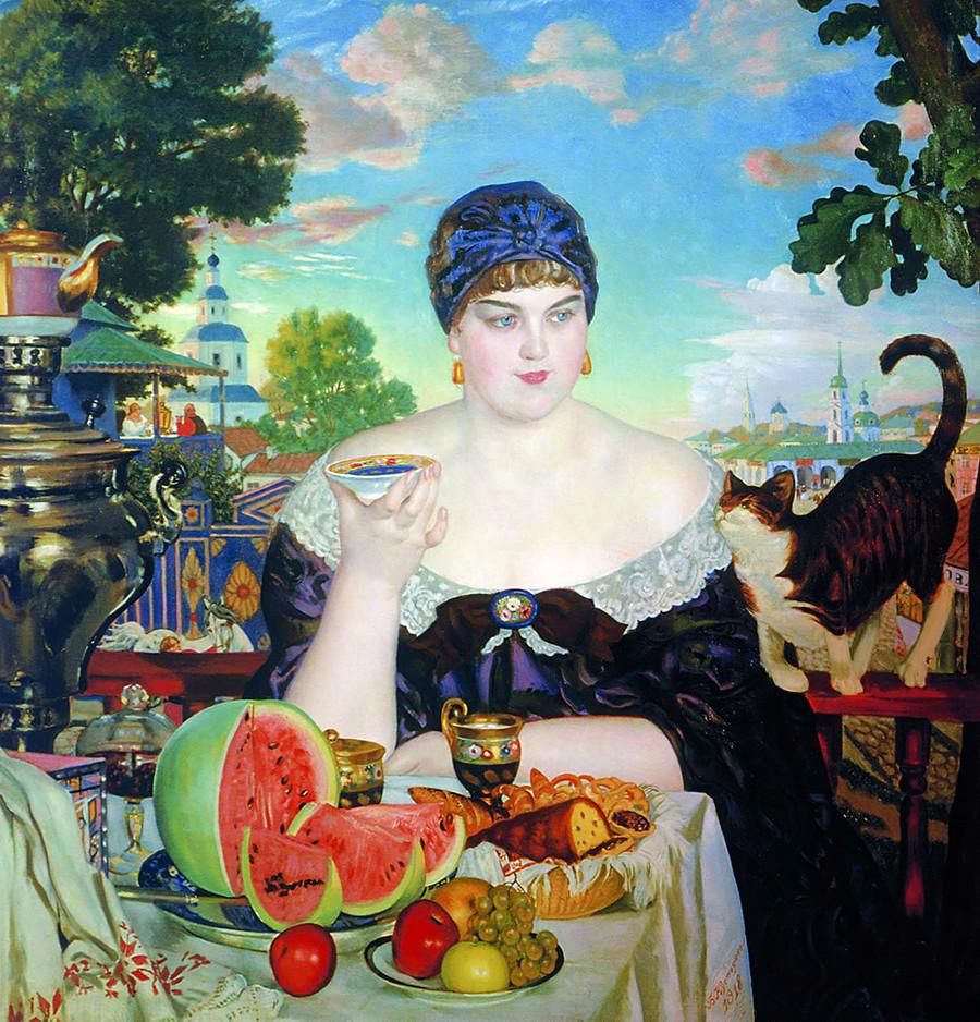 Femme de marchand prenant le thé