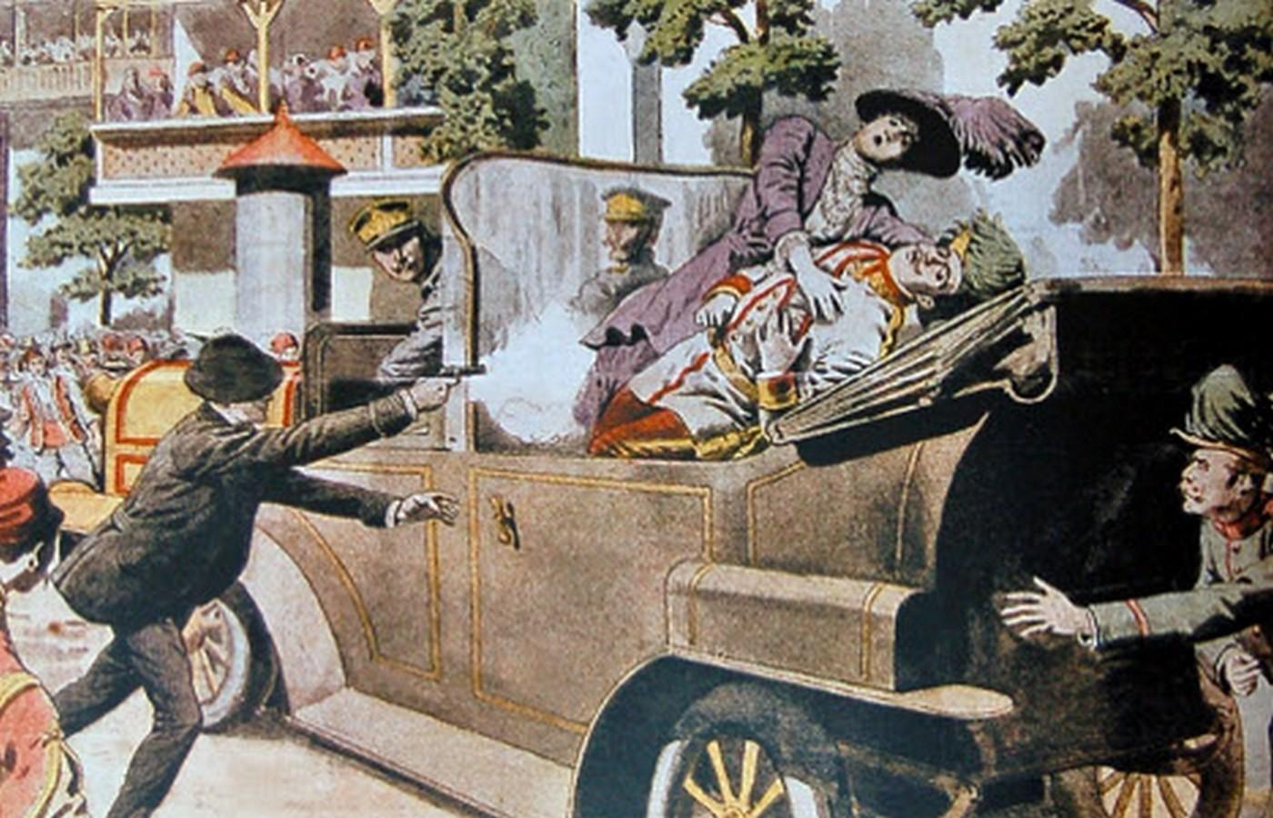Атентатот на австријскиот престолонаследник Франц Фердинанд (1863-1914) и неговата сопруга Софија (1868-1914) 28 јуни 1914.