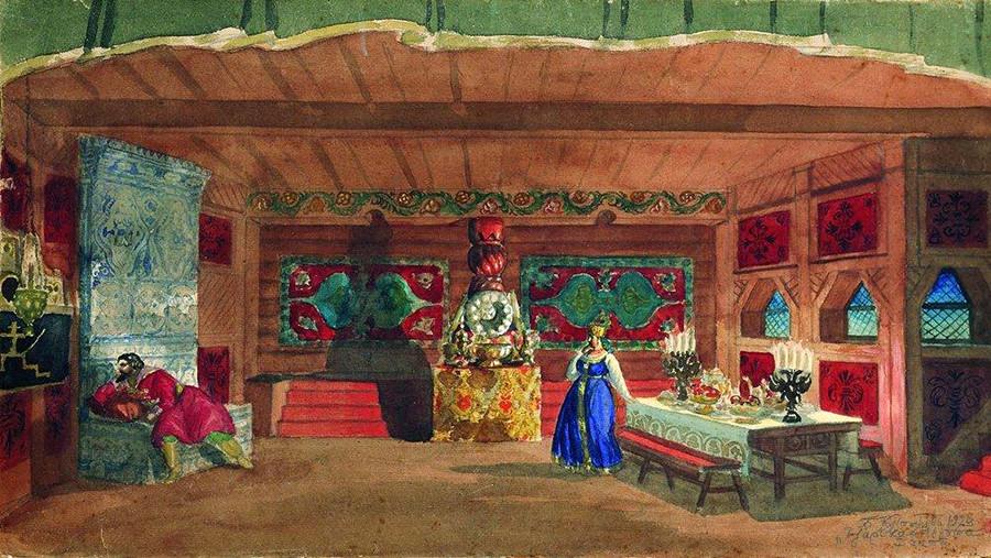 """Bozzetto per la scenografia dell'opera di Rimskij-Korsakov """"La fidanzata dello zar"""", 1920"""
