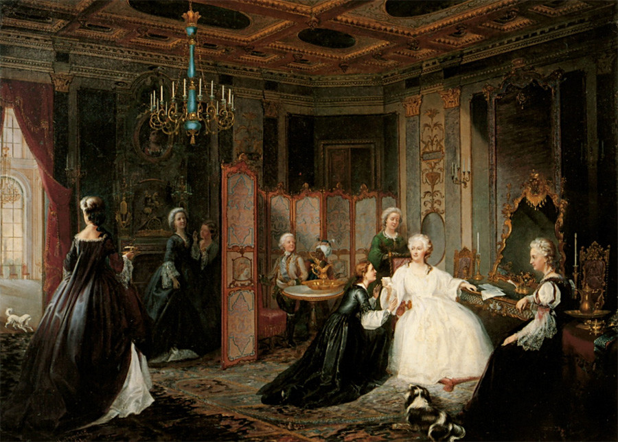 Painted portrayal of Catherine II by Ivan Miodushevsky, 1861