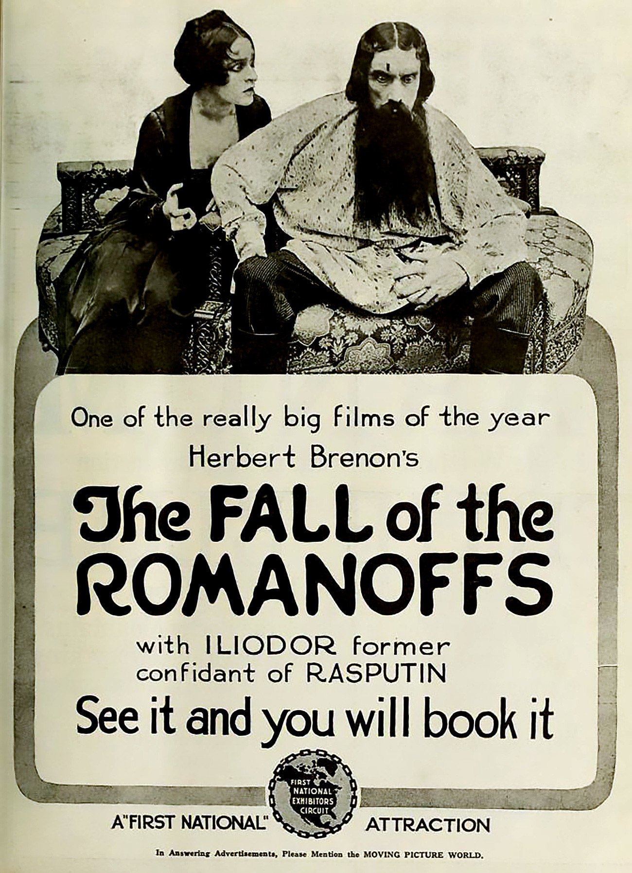Iklan di Moving Picture World, Mei 1918 untuk film The Fall of the Romanoffs (1917) dengan Edward Connelly dan Ketty Galanta.