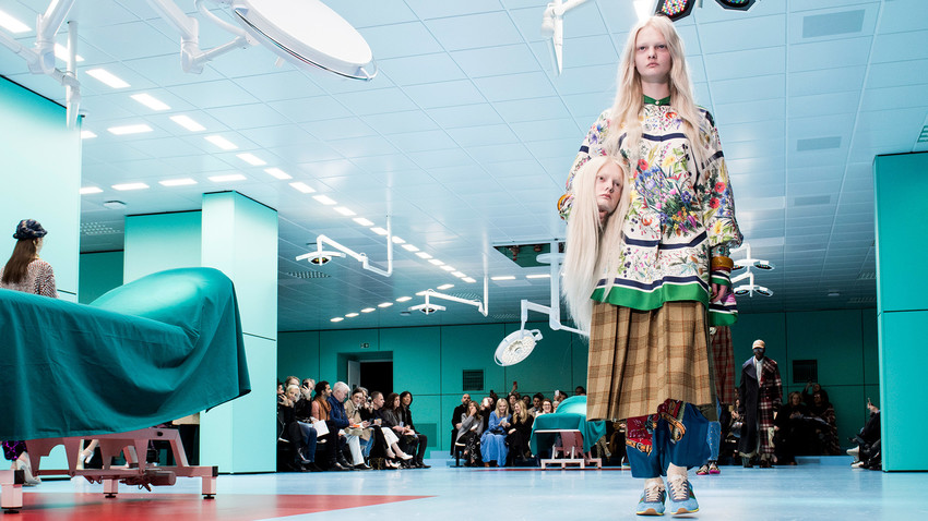 A bizarre presentation by Gucci sparked a flash mob - and Russians followed the pattern happily