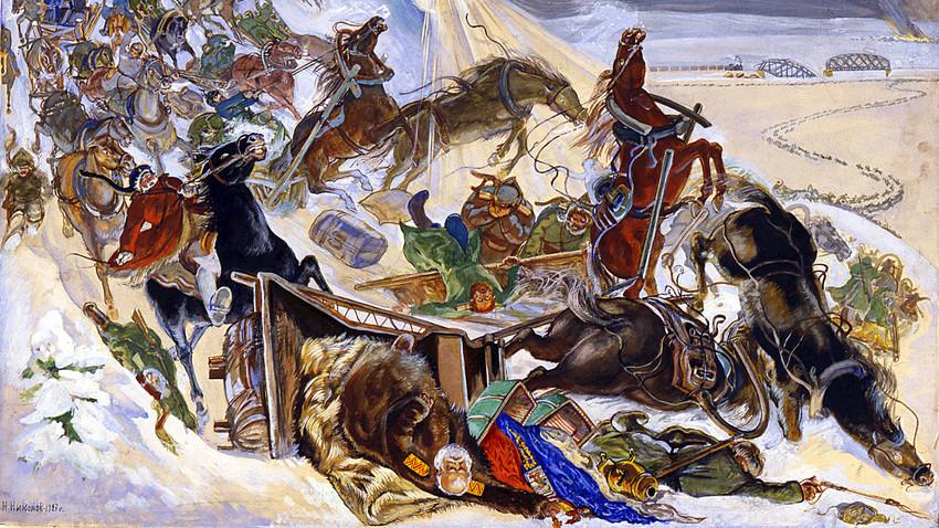 """'O voo do Exército Branco do Almirante Kolchak na Sibéria"""", Caricatura, 1927"""