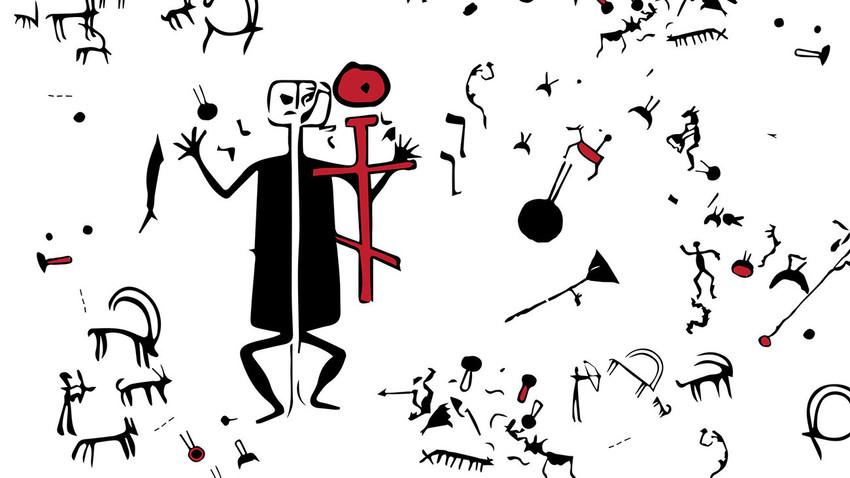 """Salah satu petroglif menggambarkan """"setan"""" raksasa dengan kepala kotak."""