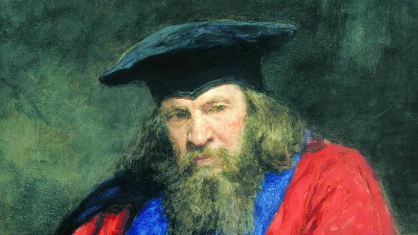 Retraro de Dmitri Mendeléiev, obra de Iliá Repin.