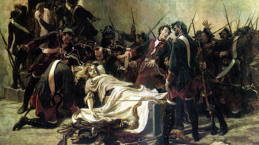 Vasili Mirovitch ao lado do corpo de Ivan VI no Forte de Schlusselburg. Ivan Tvorojnikov, 1884.