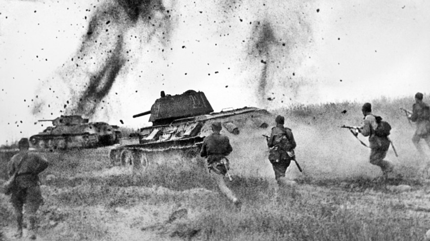 Soviet troops attacking German defense during the Great Patriotic War. All the people rose to defeat Hitler - even those who shared surnames with German leaders