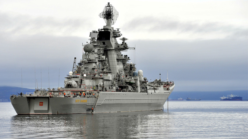The Russian battlecruiser Pyotr Velikiy leaves for St Petersburg to take part in a ship parade marking Russian Navy Day.