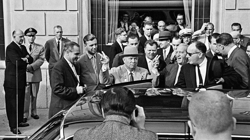 Official visit to the United States by a Soviet government delegation led by Nikita Khrushchev, New York, September 1959.