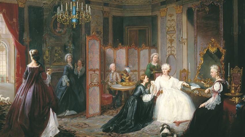 Lukisan Permaisuri Ekaterina yang Agung menerima sebuah surat oleh Ivan Miodushevsky, 1861.