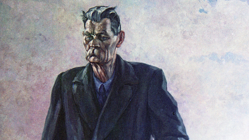 Maksim Gorkij a Sorrento, di Pavel Korin. Riproduzione. Galleria di Stato Tretyakov