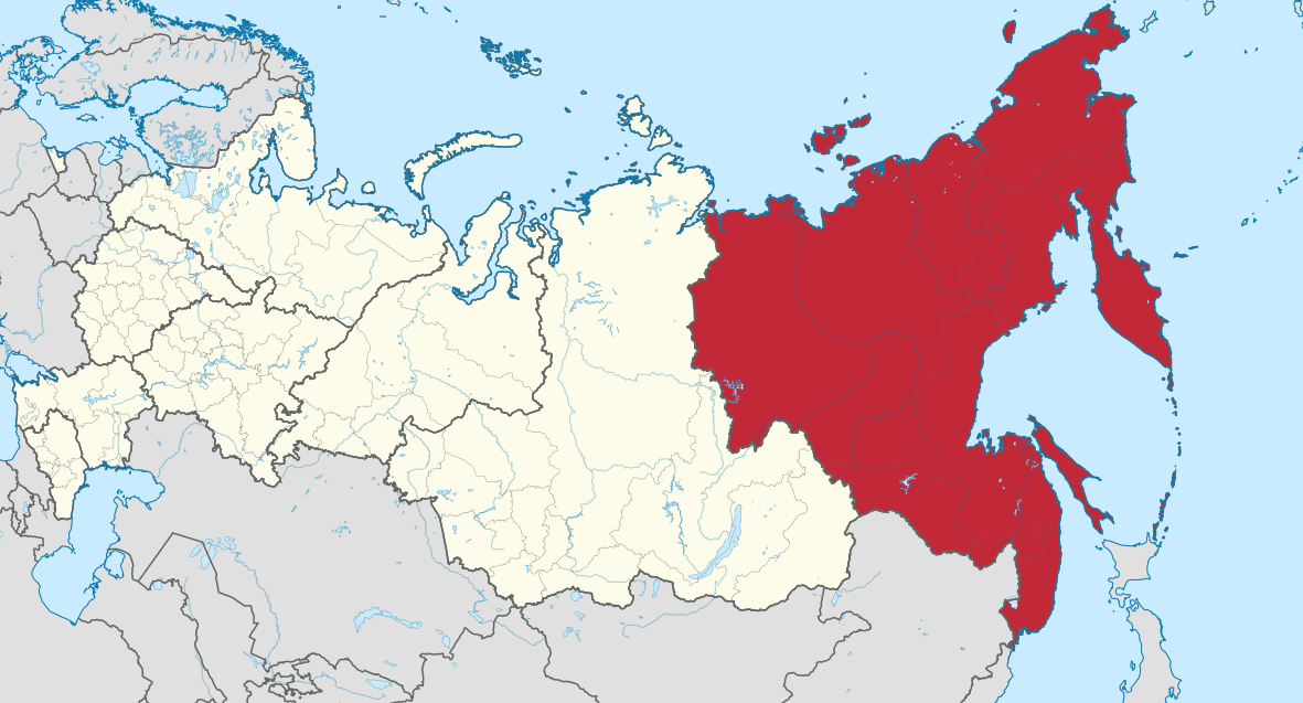 Zemljevid ruskega Daljnega vzhoda (regija je obarvana rdeče).