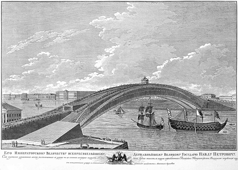 Proyecto del puente permanente sobre el río Nevá de San Petersburgo de Iván Kulibin, 1776.