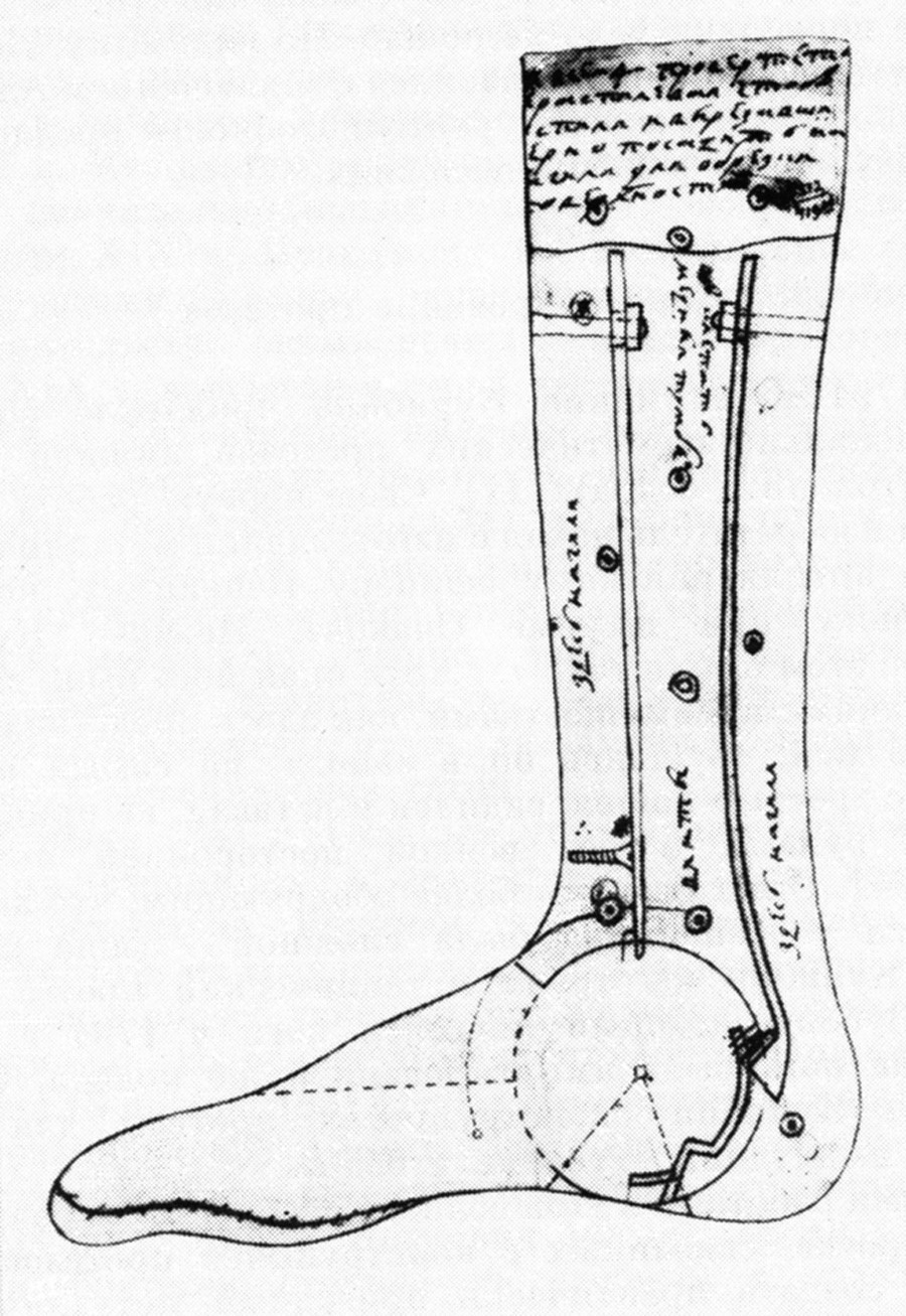 Proyecto del prótesis de pie de Iván Kulibin.