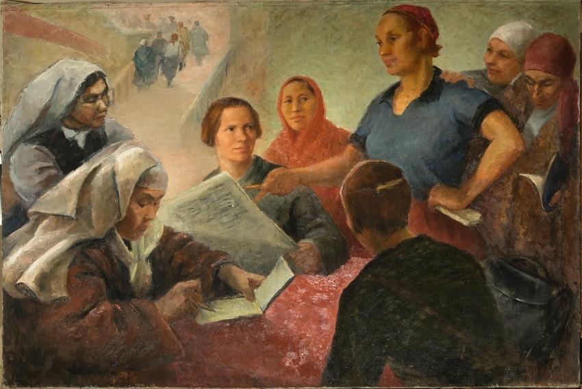 'Delegados femeninos del VI congreso' (1932), obra de Olga Yanóvskaia.