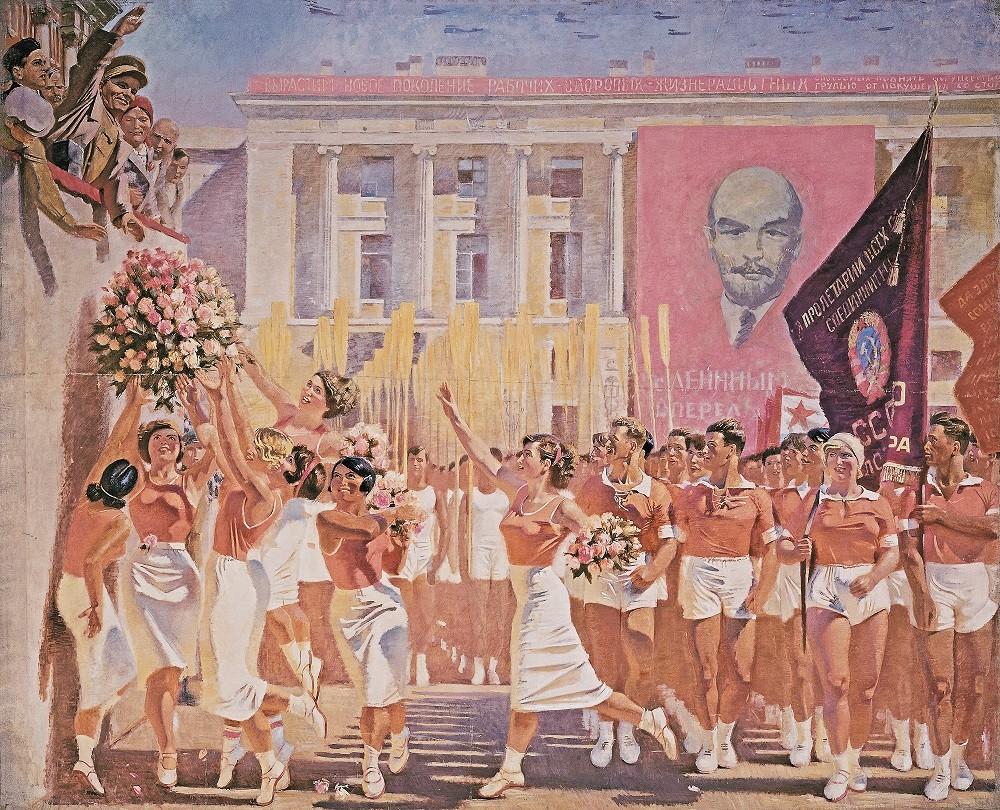 'S. M. Kirov en la marcha de deportistas aficionados' (1935), obra de Alexánder Samojválov.