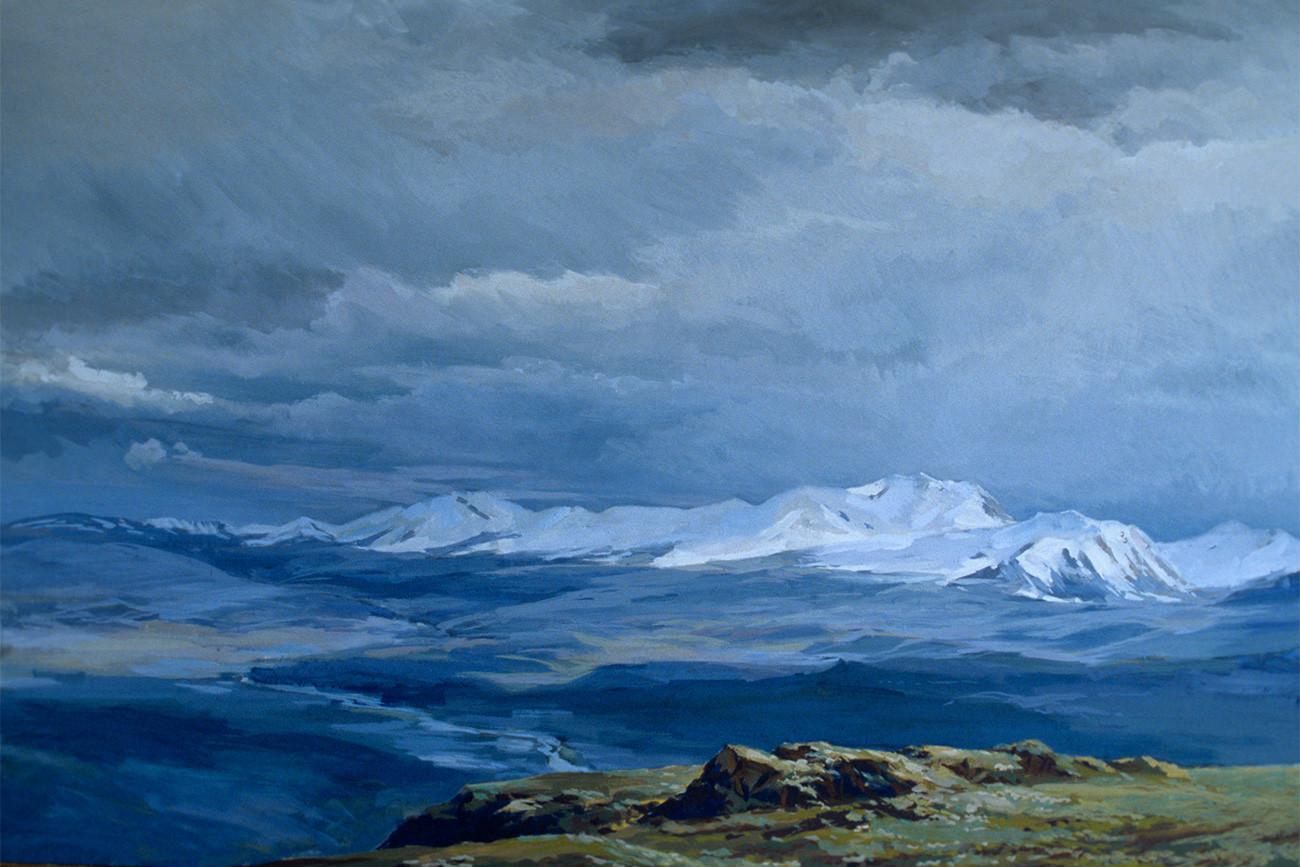 """Reproduksi lukisan """"Dataran Tinggi Ukok"""" (1989) oleh seniman Yury Korobeynikov."""