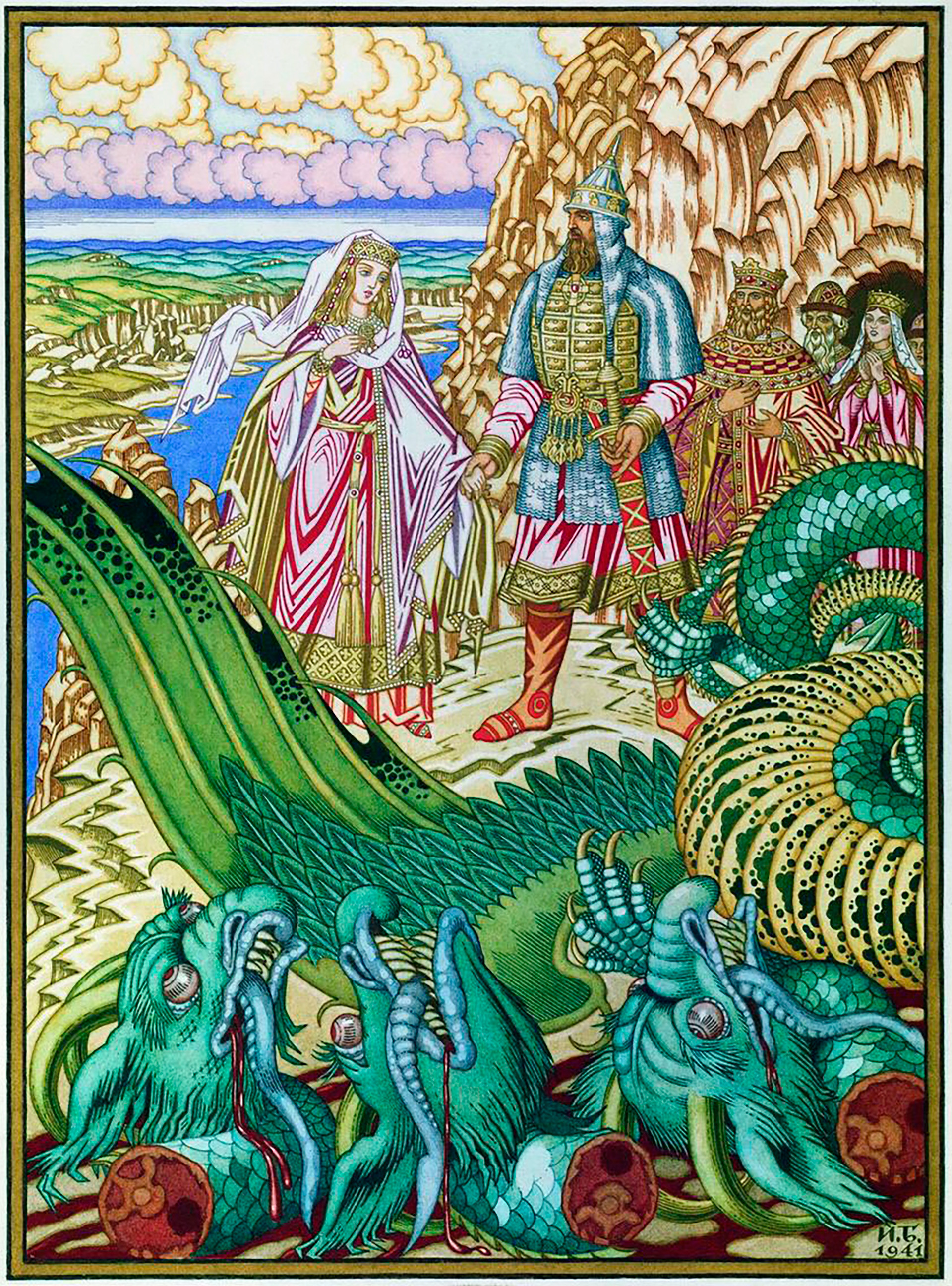 Ivan Bilibin. Dobrynya Nikitich membebaskan Zabava Putyatichna dari Zmey Gorynych. Sebuah ilustrasi oleh N.V. Vodovozov untuk untuk kumpulan dongeng.