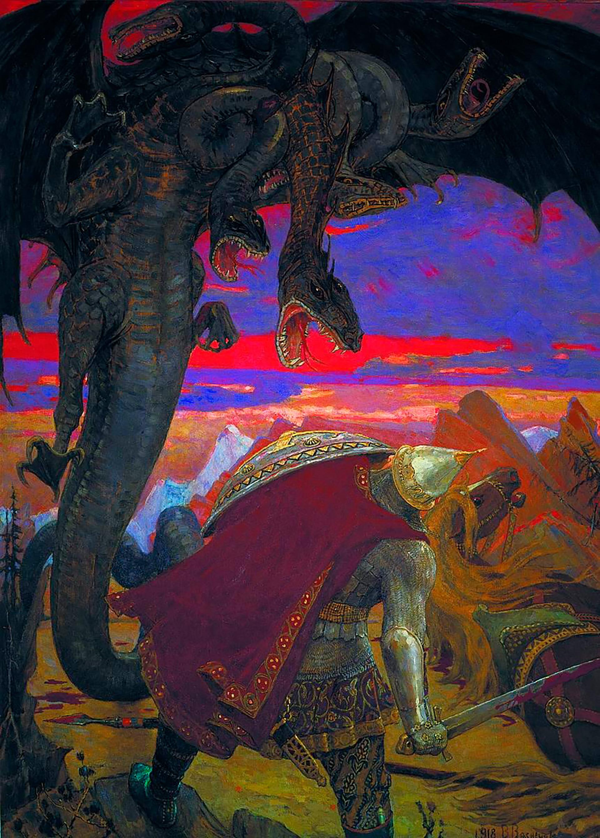 """Lukisan """"Pertarungan Dobrynya Nikitich dan Zmey Gorynych Berkepala Tujuh"""" (1918) oleh Viktor Vasnetsov."""
