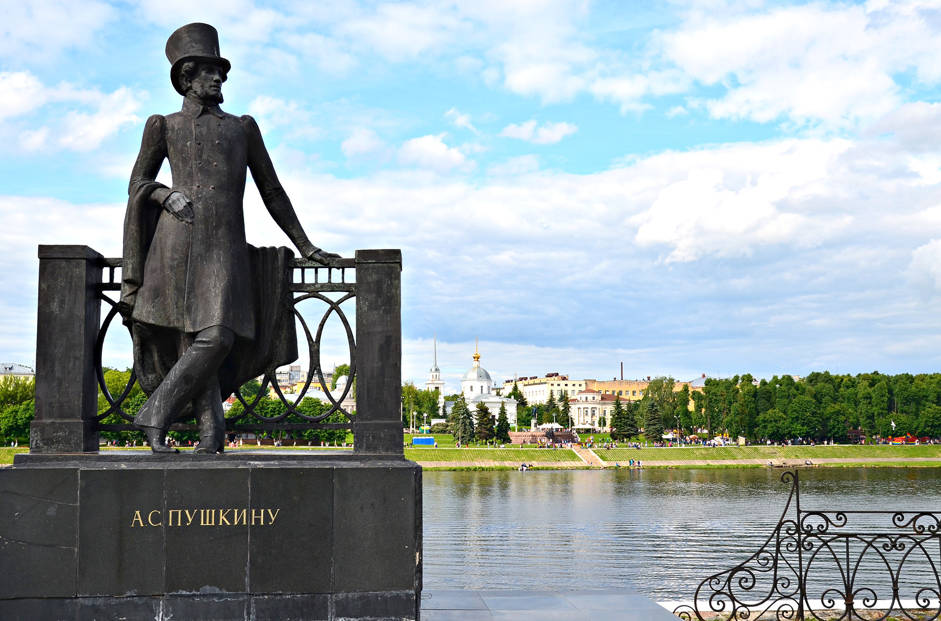 Alexander Pushkin greets you from the river Volga.