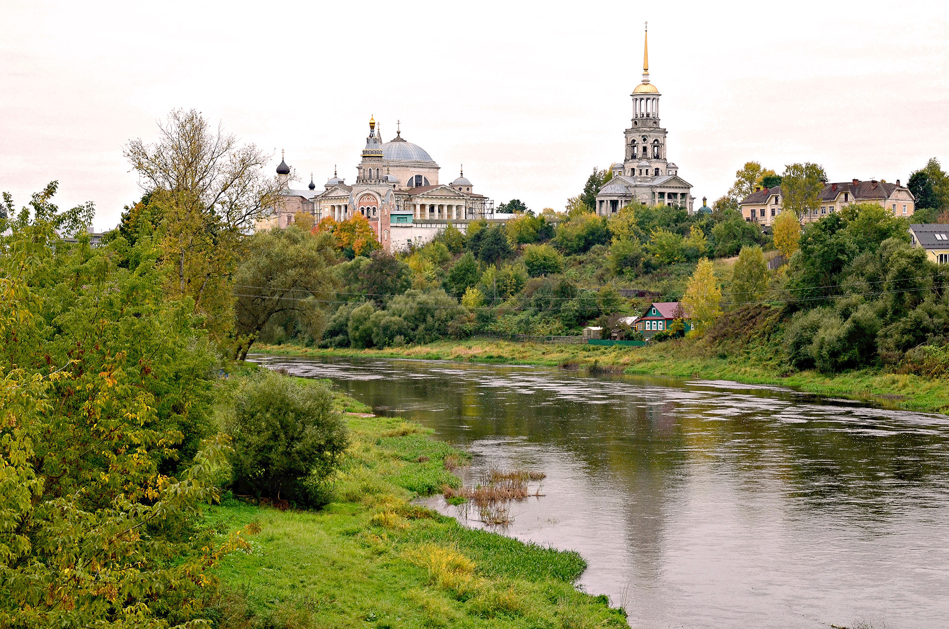 The Monastery of Sts. Boris and Gleb stands high above the river Tvertsa and Torzhok's small but pretty city center.