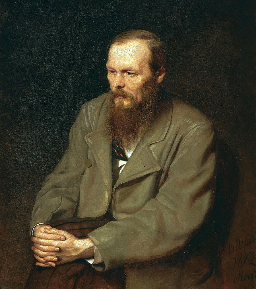Dostoevsky looks rather grim on his canonic portrait by Vasily Perov.
