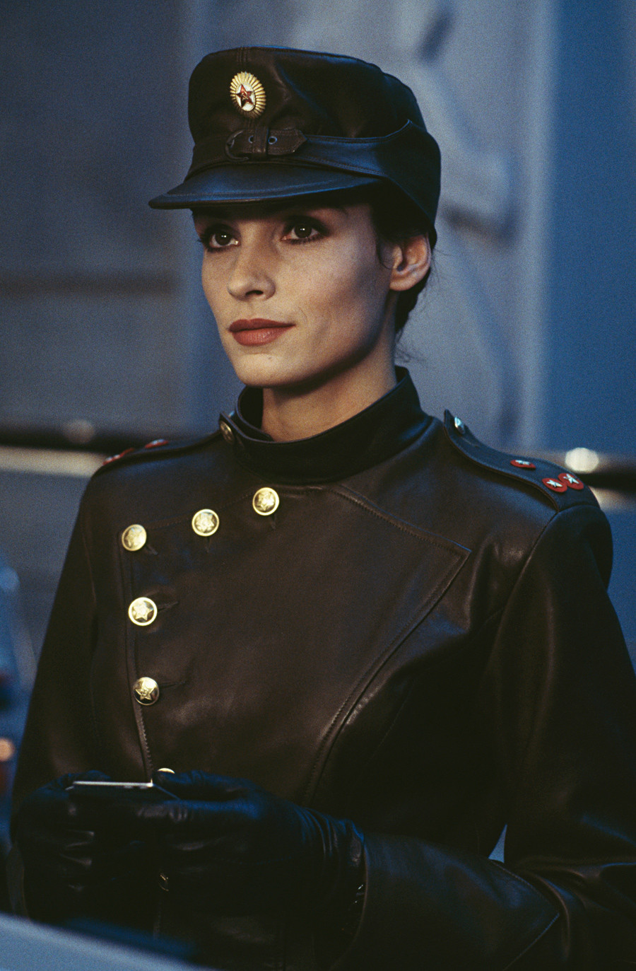 Dutch-born actress Famke Janssen stars as the villainous Xenia Onatopp in the James Bond film 'GoldenEye', 1995