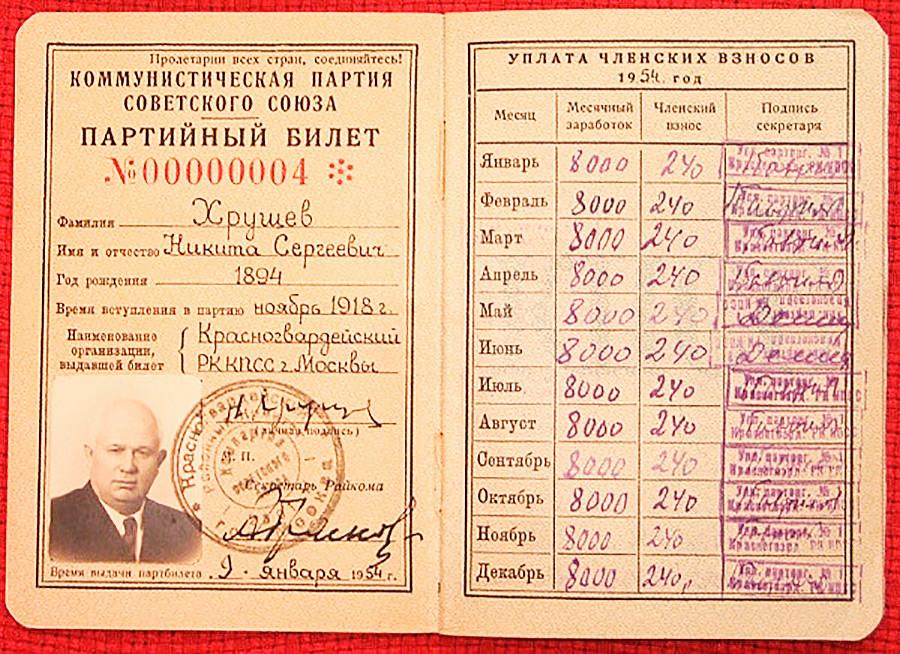 ニキータ・フルシチョフ、共産党の党員証
