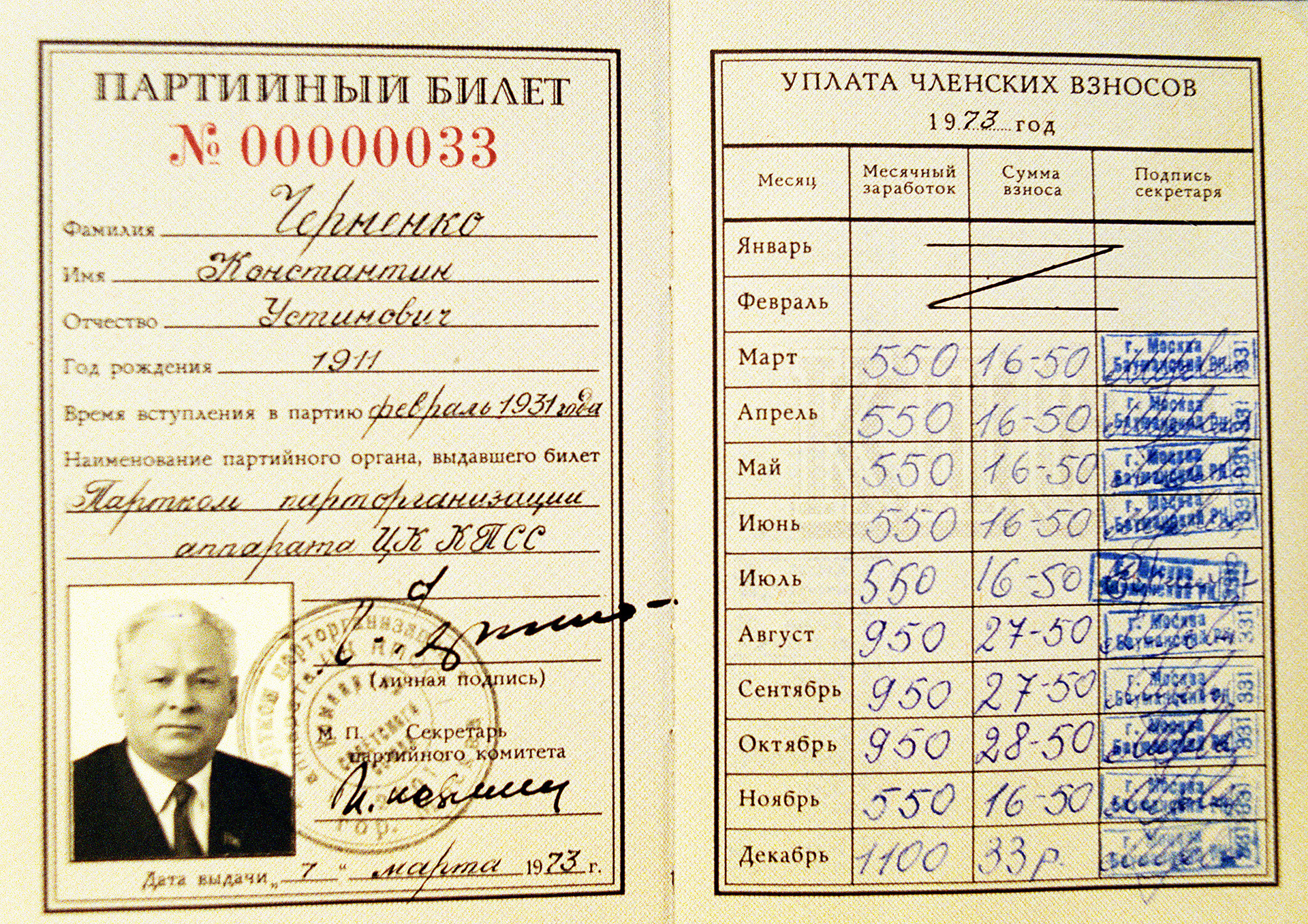 コンスタンティン・チェルネンコ、共産党の党員証