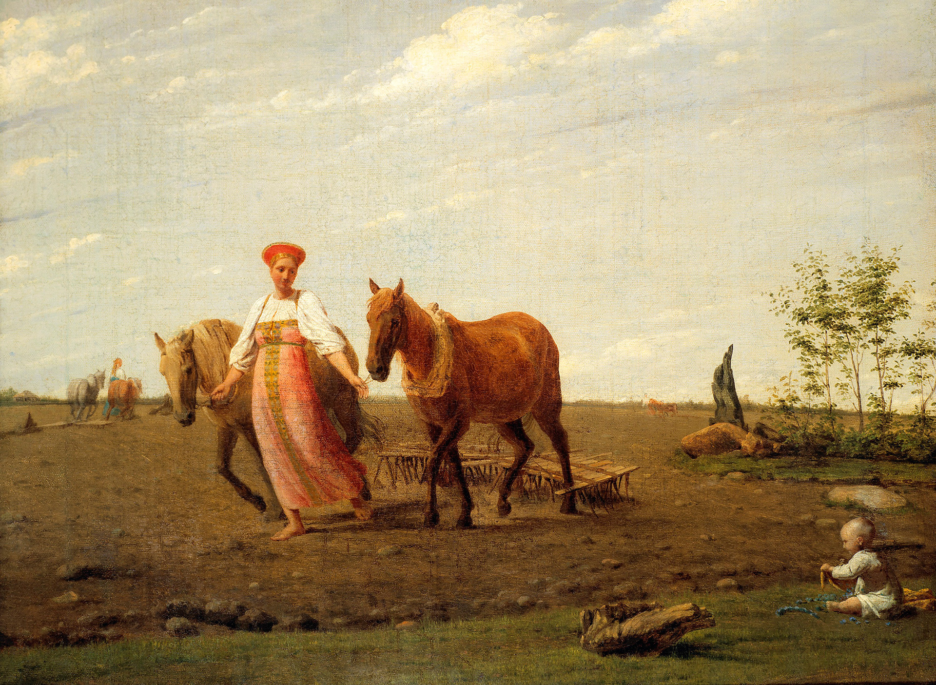 Spring, On Ploughed Land, 1820s, Alexey Venetsianov