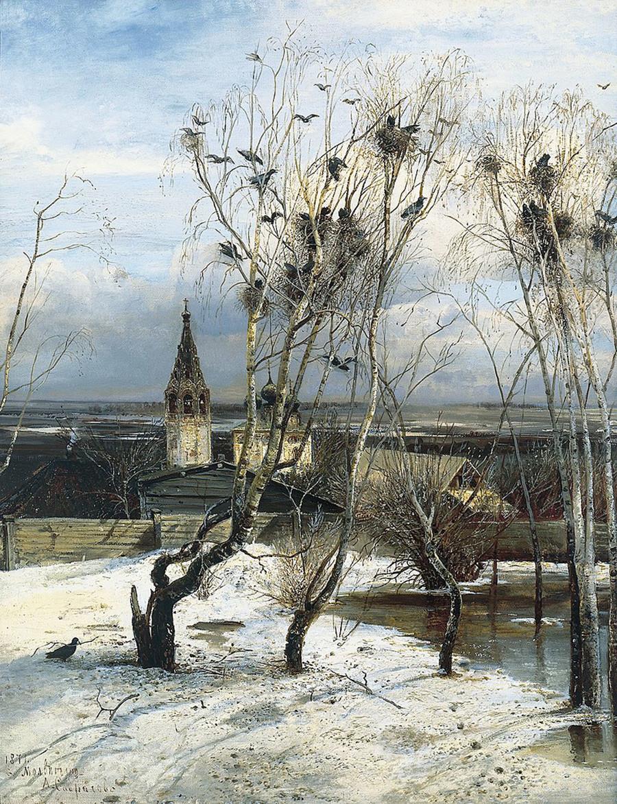 『ミヤマガラスの飛来』、1871年