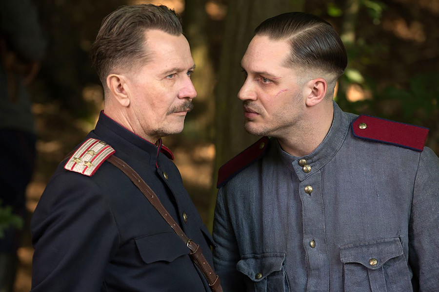 Tom Hardy (R) with co-star Gary Oldman (L)