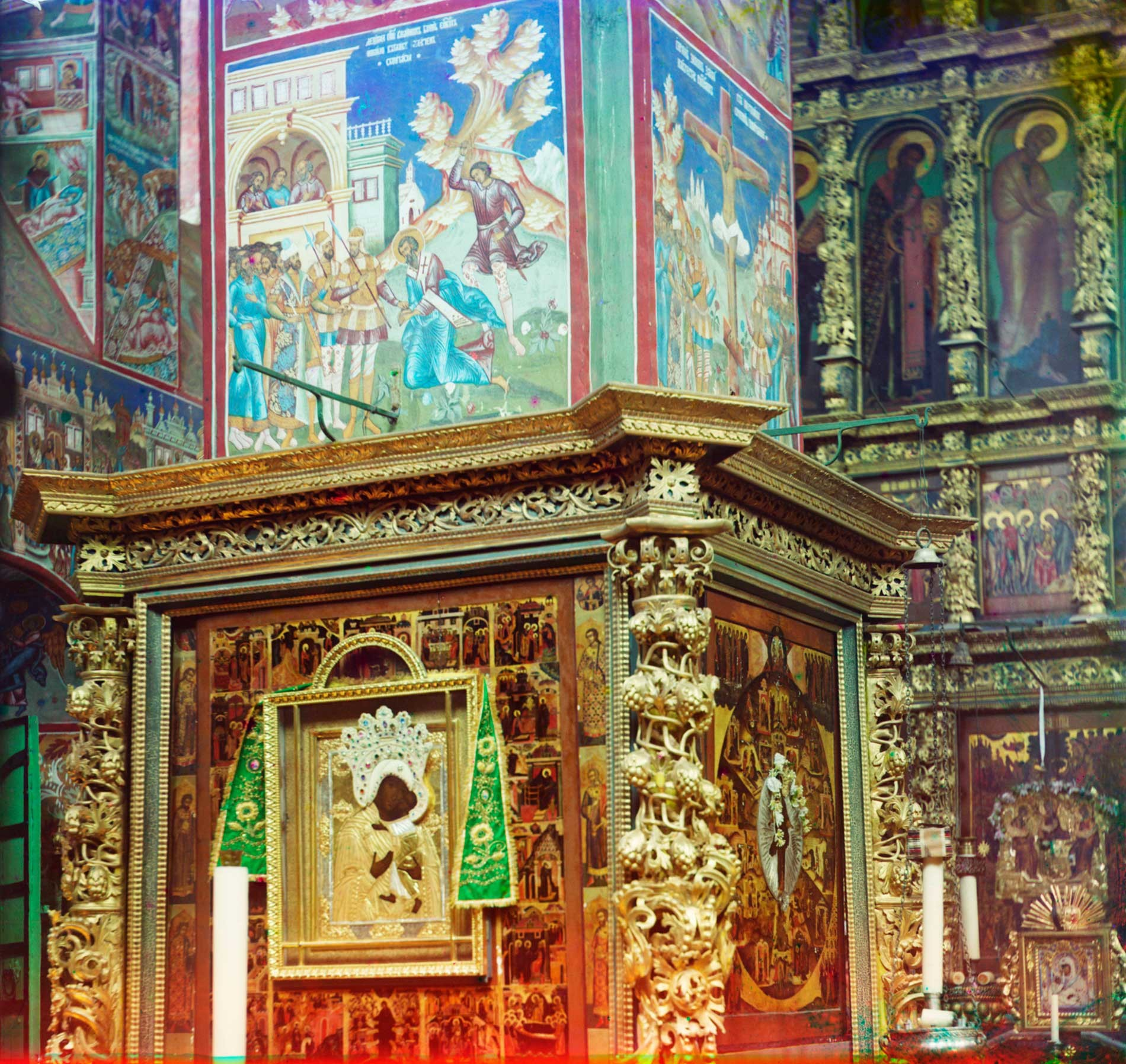 Church of St. John Chrysostom at Korovniki. Northwest pier. Left: Tolg Icon of the Virgin; fresco: Decapitation of Dionysius the Areopagite. Right fresco: Crucifixion of Apostle Simon the Zealot. Summer 1911.