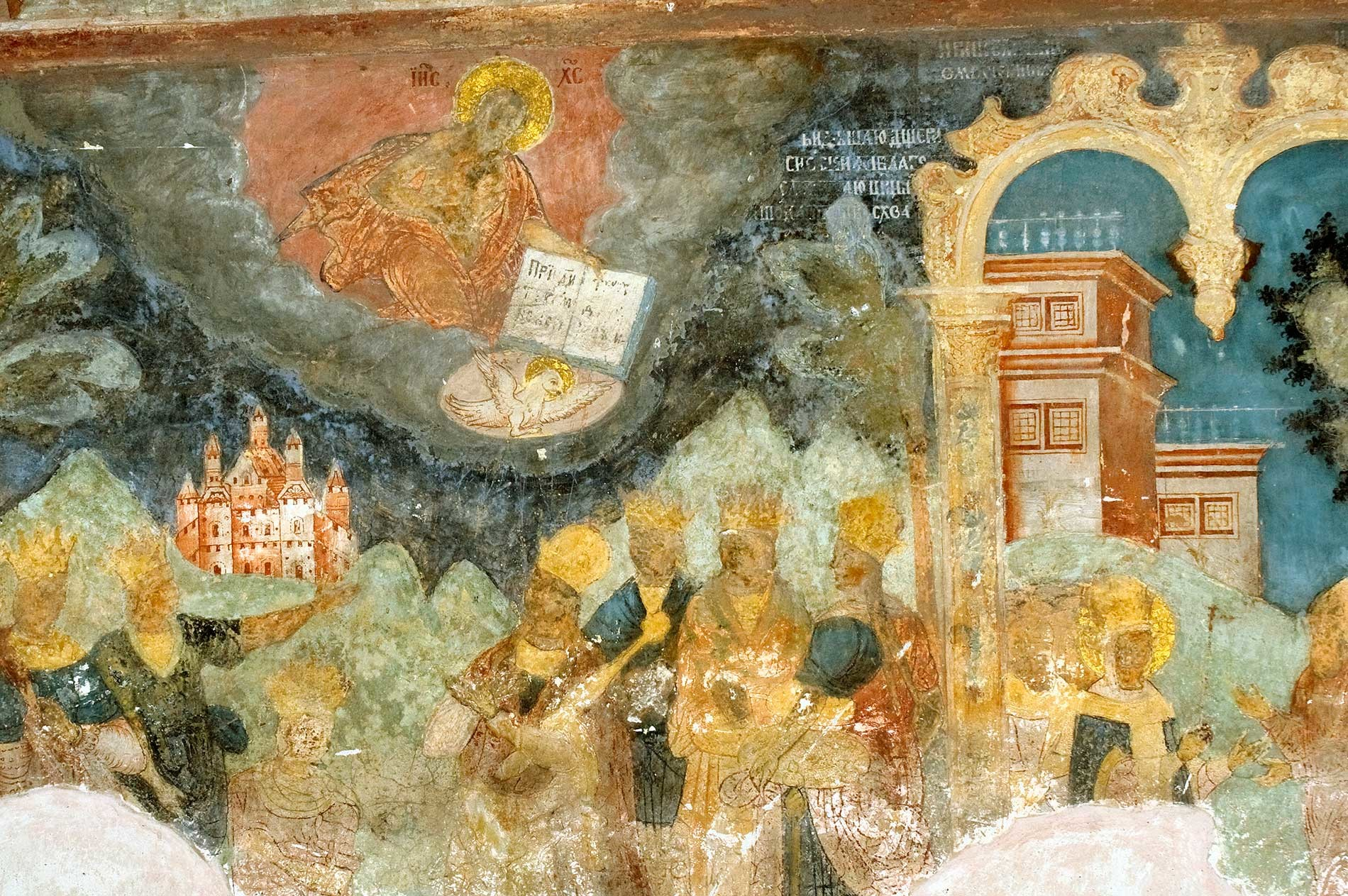 Church of St. John Chrysostom at Korovniki. West wall frescoes include Byzantine court whose luxury was excoriated by St. John Chrysostom. Red cloud contains image of Christ looming over crowned figures at palace. Aug. 15, 2017.
