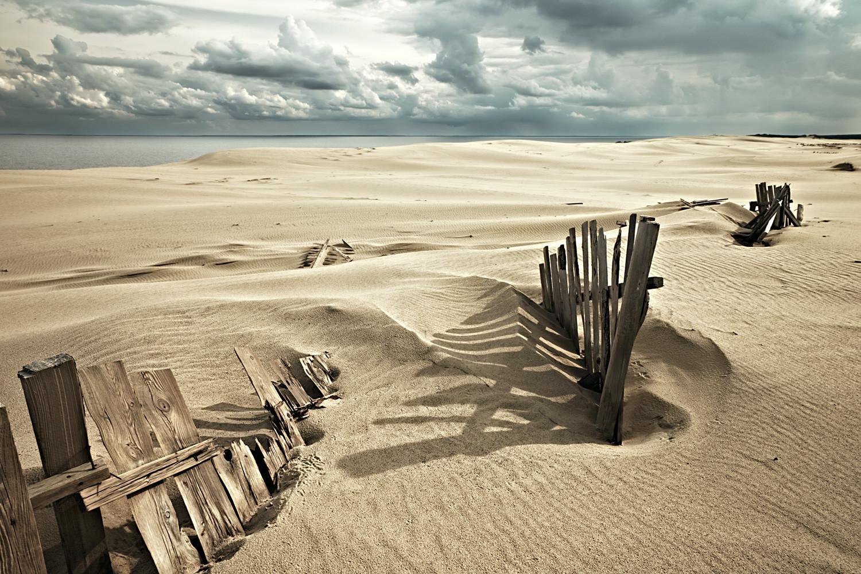 Zaštitne konstrukcije na Kurskoj prevlaci koje sprječavaju osipanje pješčanih dina. Kalinjingradska oblast, Rusija.