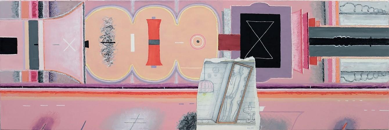 La vie passe à côté, 2007. Toile, peinture à l'huile, collage. 50 x 150 cm