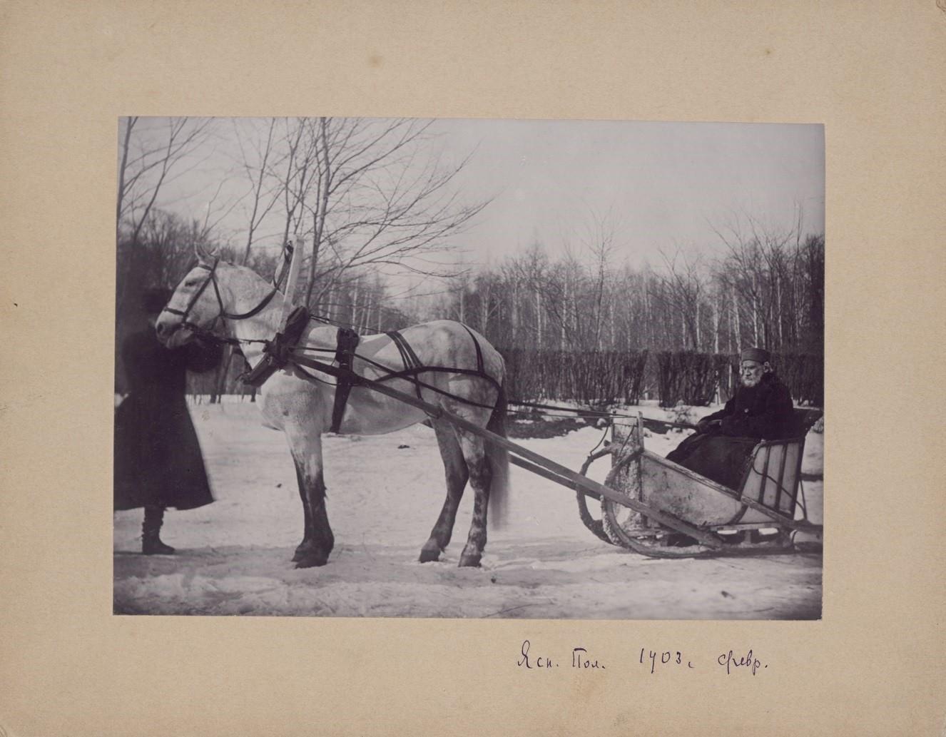 Tolstói en un trineo, 1903. Fotografía de Sofía Tolstaia.