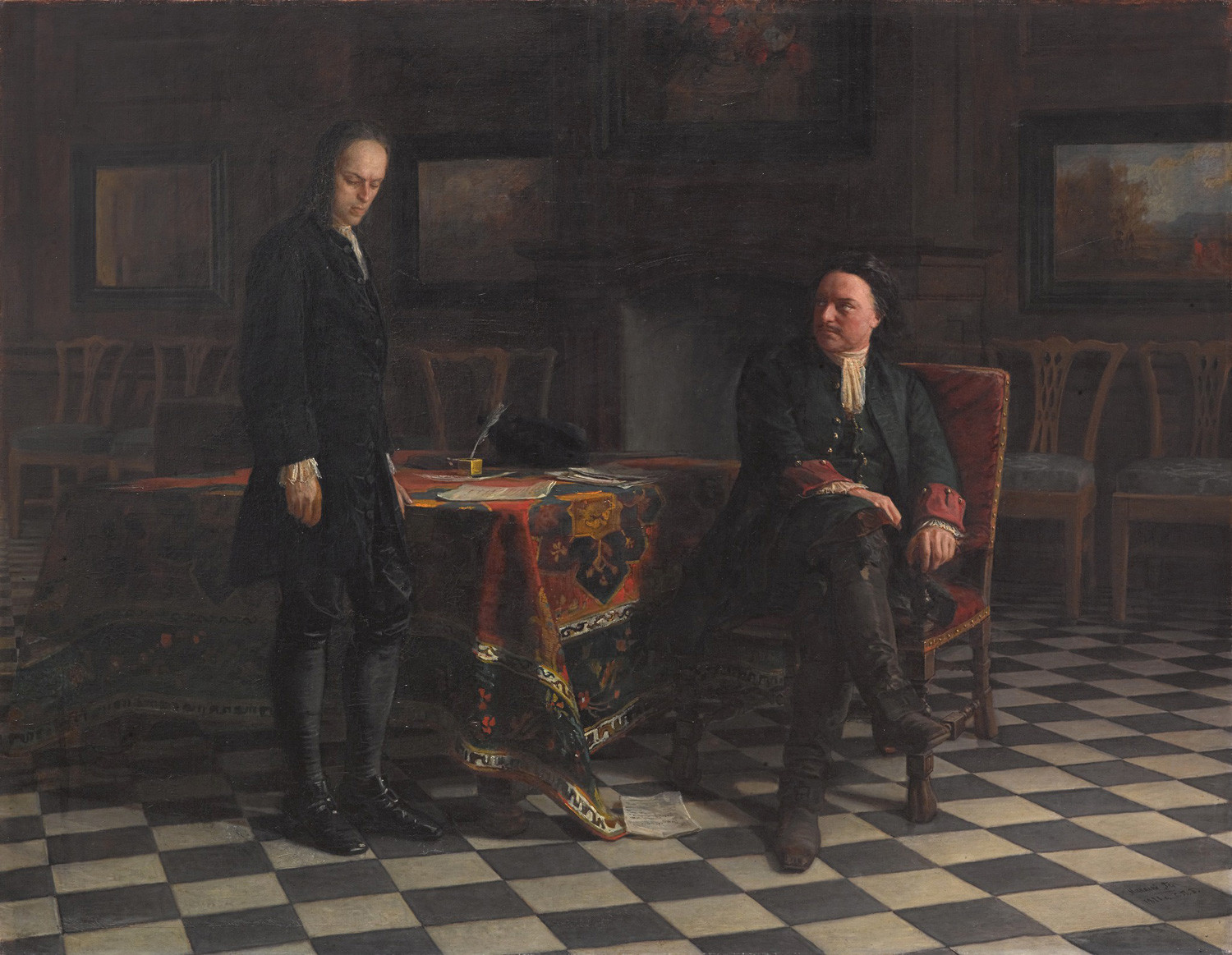'Peter I (the Great) Interrogating Tsarevich Alexei Petrovich in Petergof' by Nikolai Ge