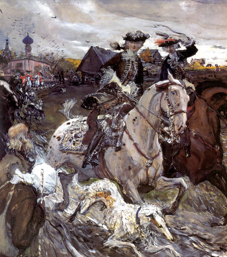 ワレンチン・セローフによる「狩猟に出かけるピョートル2世と皇女エリザヴェータ」