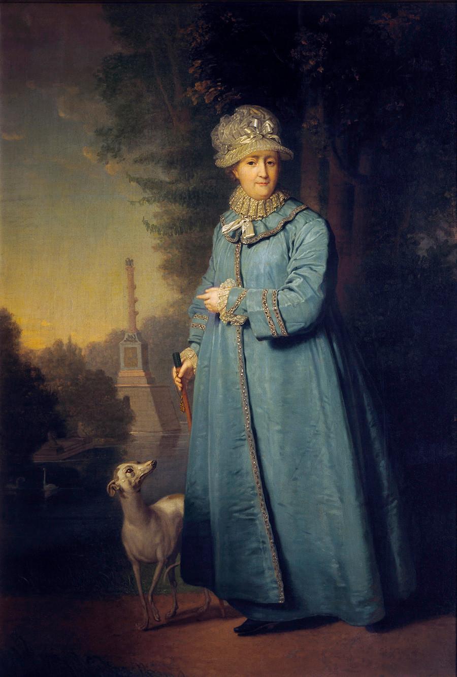 ウラジーミル・ボロヴィコフスキーによる「離宮ツァールスコエ・セローを散策するエカテリーナ大帝」(1794)
