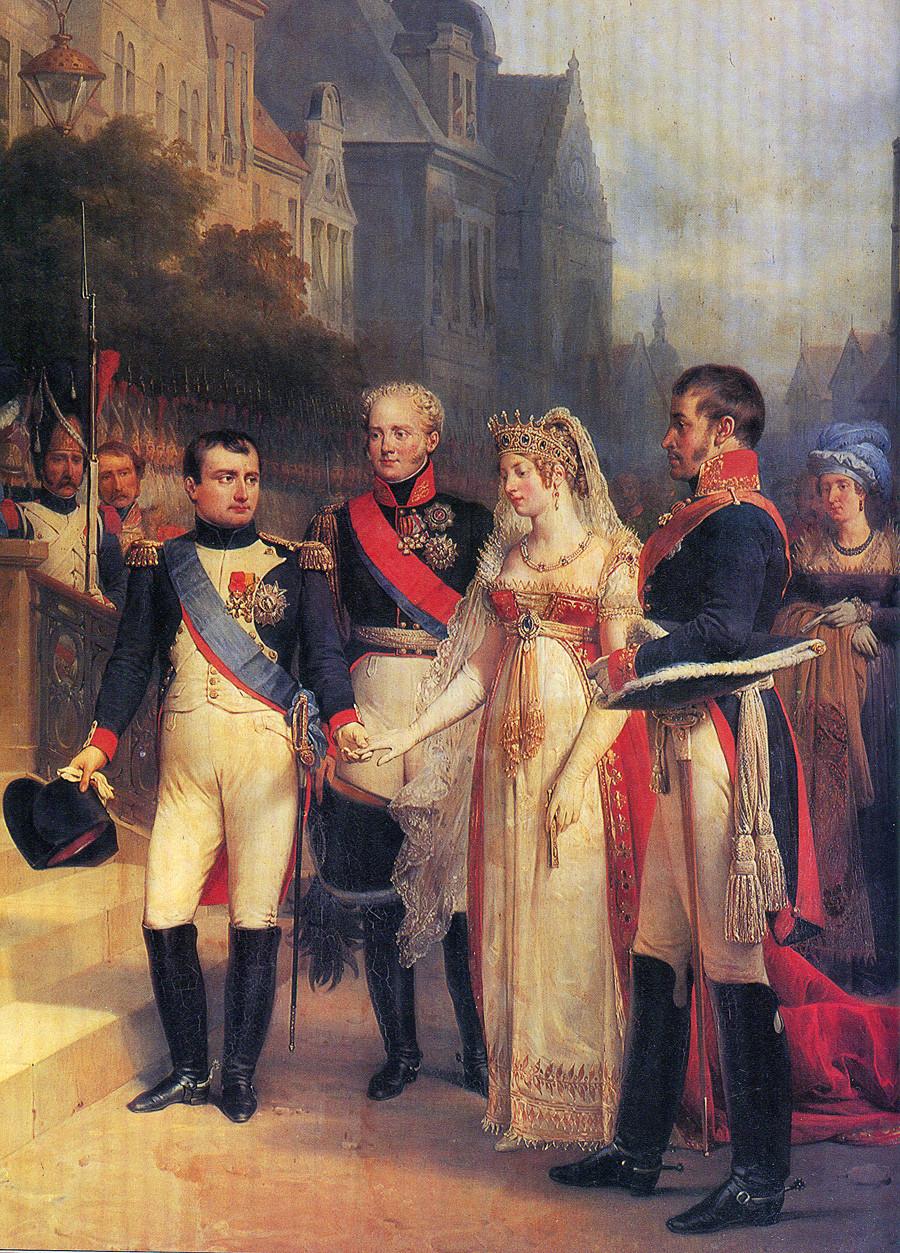 仏画家Nikolas Gosseによる「ティルジットでの会見。ナポレオン、アレクサンドル1世、フリードリヒ・ヴィルヘルム3世とルイーゼ王妃」(1807)