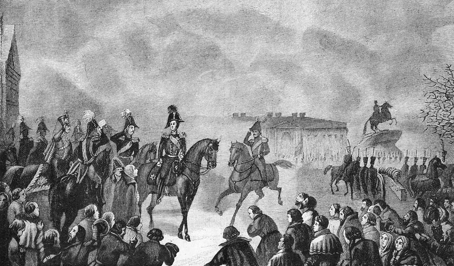 「1825年12月14日、元老院広場におけるニコライ1世」(*この日、デカブリストの乱がおきた)