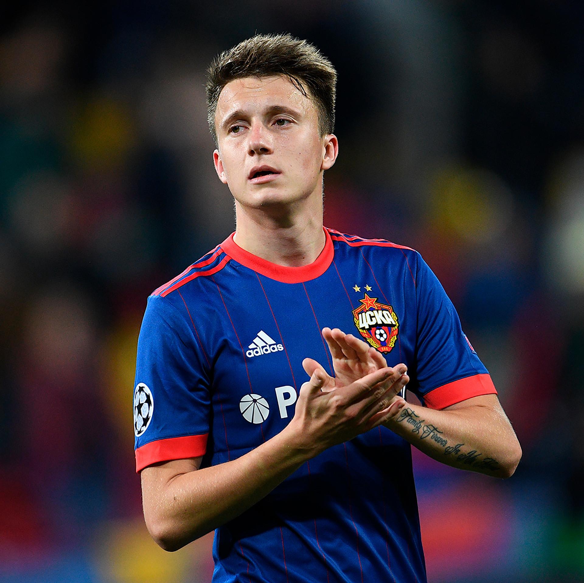 O meia do CSKA de Moscou, Aleksandr Golovin, que já esteve ligado ao Arsenal anteriormente.