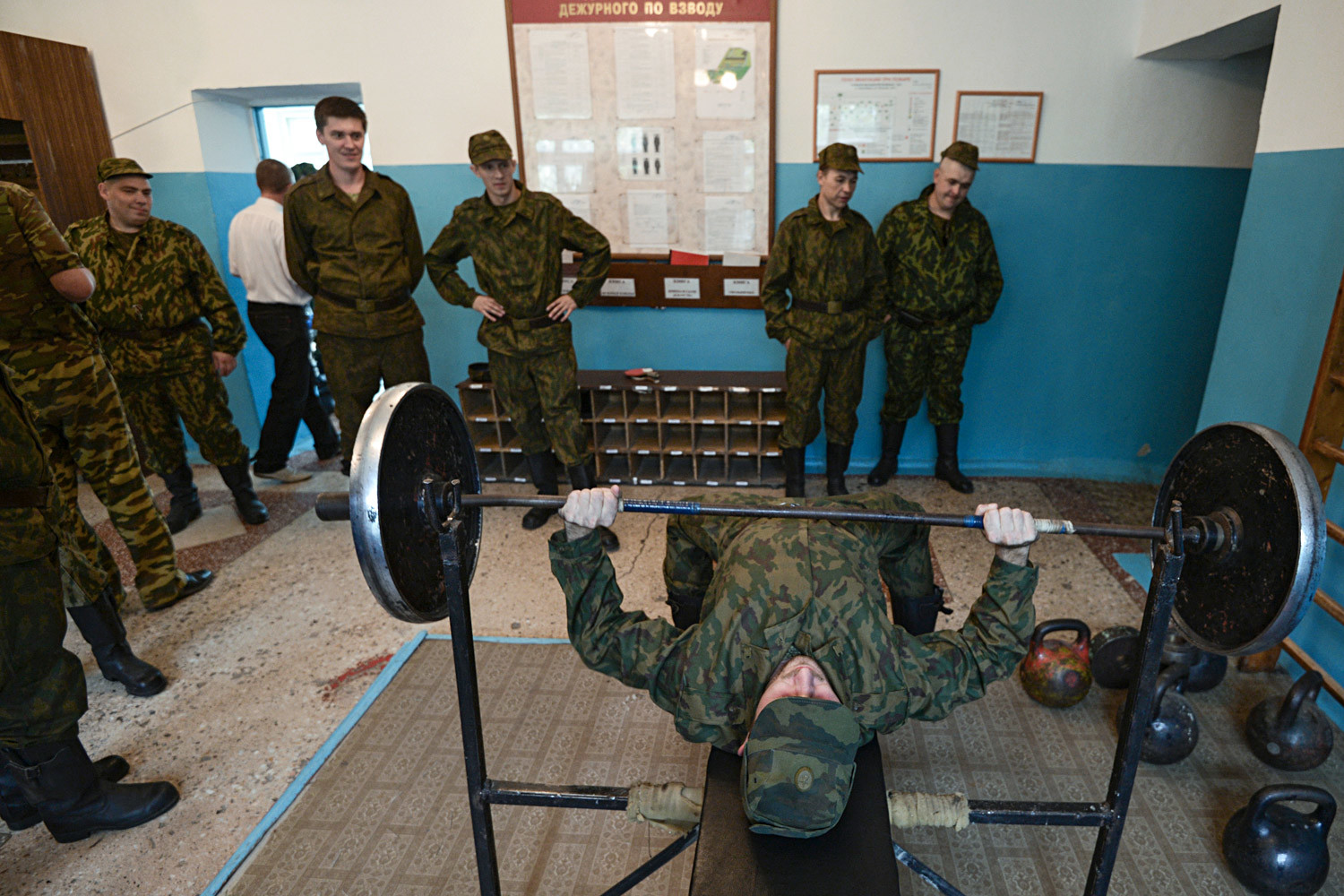 Reservists summoned for training, in a barrack at a base for storing, repairing and reconstructing military equipment in the city of Novosibirsk