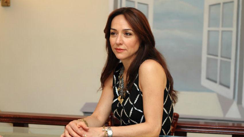 Paola Stramucci, stilista dell'atelier Glen Spose che per la serata ha confezionato l'abito con il tricolore russo