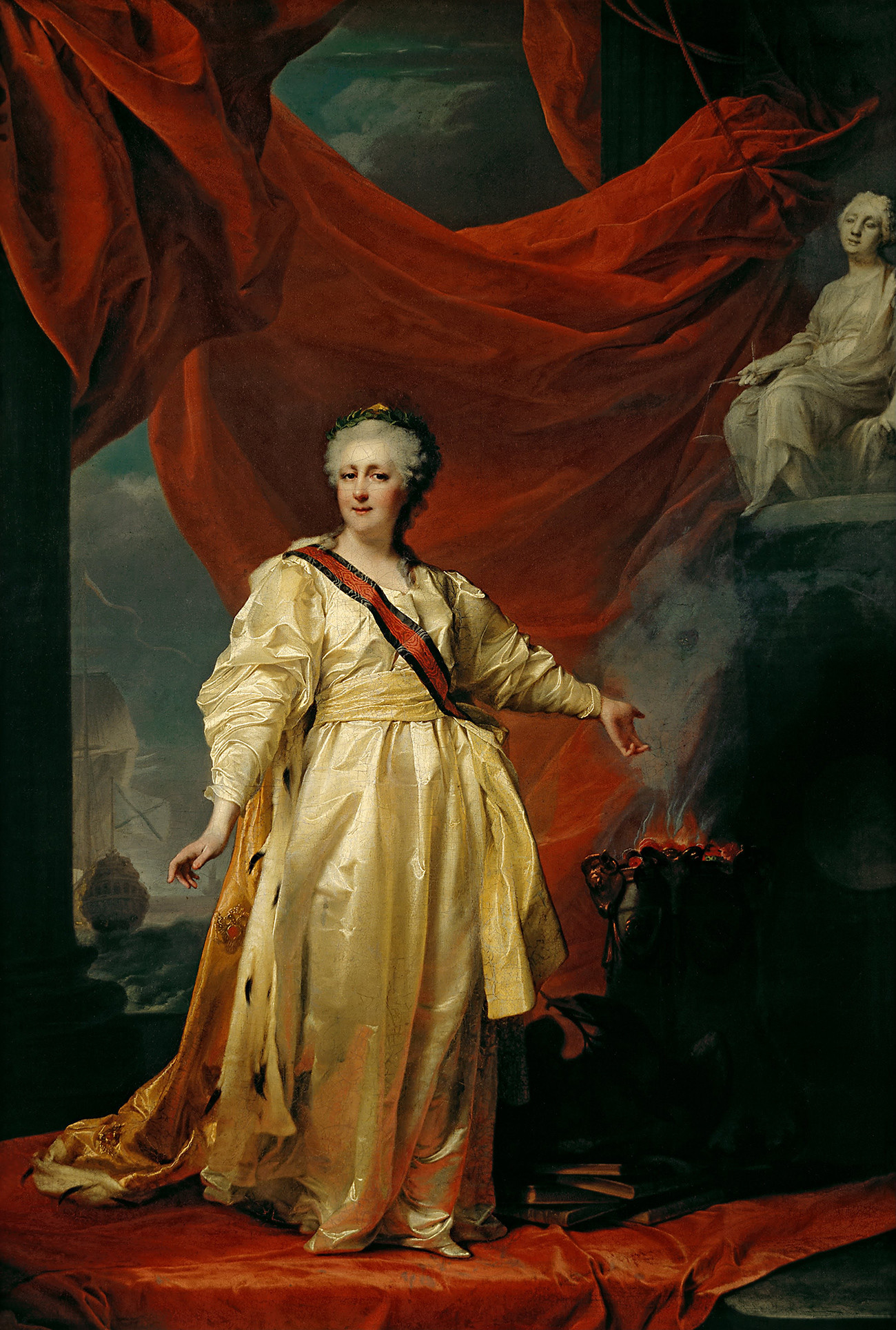 Potret Ekaterina yang Agung sebagai Penegak Hukum di Kuil Dewi Kehakiman, oleh Dmitry Levitsky, awal 1780-an.